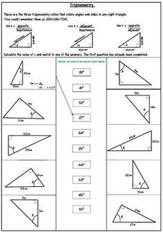 Trigonometric Ratios Worksheets | Math-Aids.Com | Pinterest ...