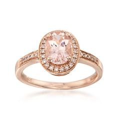 1.10 Carat Morganite and .16 ct. t.w. Diamond Ring in 14kt Rose Gold