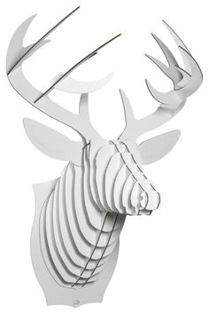 Bucky - Deer Trophy Head, White, Large modern-accessories-and-decor