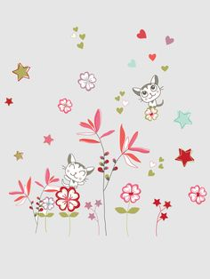 Multi-coloured stars  cats and flowers. Your little ones room will instantly become a magical garden! SIZE : 2 sheets 28 x 48 cm. Pack of 55 ones stic