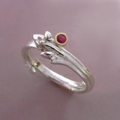 Twig Engagement Ring Sterling Silver Gold and Ruby by esdesigns Branch Ring, Twig Ring, Anniversary Bands, Sterling Silver Rings, 18k Gold, Bling, Jewels, Engagement Rings, Craft Jewelry
