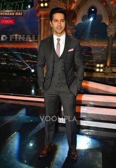 Dapper! Varun Dhawan looking handsome in a designer suit by Italian fashion house Ermenegildo Zegna. via Voompla.com