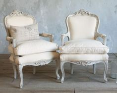 Vintage Louis XV French style Serpentine Armchairs