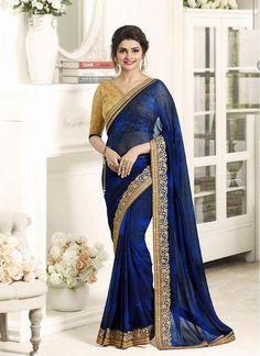 Divine Prachi Desai Navy Blue Ceremonial Bollywood Party Wear Saree