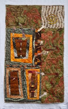 Contemporary fiber art wall hanging by farbenspielquilts on Etsy, $425.00