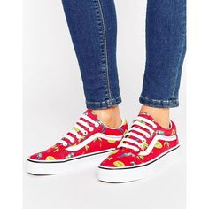 Vans Pool Vibes Old Skool Trainer (€48) ❤ liked on Polyvore featuring shoes, sneakers, red, skate shoes, leopard print slip-on sneakers, slip-on sneakers, red canvas sneakers and vans sneakers