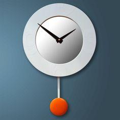 Stella Modern Wall Clock with mirror and pendulum by pilotdesign, $89.00