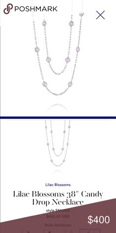 """Tacori Candy Drop Necklace in Lilac Brand New never worn still in original box, received as a gift. 38"""" silver with 18kt Gold Gem Seal. Rose Amethyst gemstones 15.60cts. Tacori Jewelry Necklaces"""