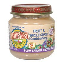 Earth's Best Organic Brown Rice Banana & Plums Baby Food (12x4oz) ( Value Bulk Multi-pack) $84.16