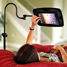 Necessary Products For Lazy People: This stand for your tablet/e-reader Cool tip/ Great Idea/ Want this now/ Cool tool/ Kitchen and Bedroom Gadgets/ Cool Tech Idea Ipad Floor Stand, Ipad Stand, Tablet Stand, Laptop Stand, Phone Stand, Cool Technology, Technology Gadgets, Assistive Technology, Cool Ideas