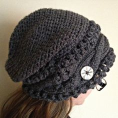 MADE TO ORDER gray slouch hat slouchy beanie by KnittingbyKali