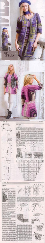 Кардиганы в технике пэчворк. Стиль БОХО. Журнал Мод Вязание № 585