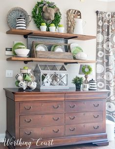 Open rustic industrial farmhouse shelves decorated for spring Worthing Court Decoration Bedroom, Diy Home Decor, Room Decor, Wall Decor, Decoration Inspiration, Decor Ideas, Decorating Ideas, Decorating For Spring, Dining Room Buffet