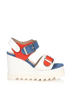 Chrissie Morris Ida lizard-effect leather wedge sandals