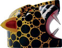 Mascara decorativa tigrillo del Carnaval de Barranquilla Jaguar, Magic Realism, Craft, Ceramic Art, Colombia, Colors, Cheetah