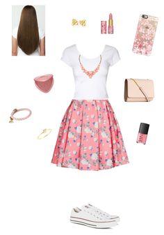 """""""Pink Floral Skirt (Contest Entry)"""" by kickitap ❤ liked on Polyvore featuring ERIN Erin Fetherston, Jane Norman, Converse, tarte, NARS Cosmetics, Kate Spade, Alex and Ani, Sydney Evan, Too Faced Cosmetics and H&M"""