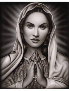 Black And Grey Praying Virgin Mary Tattoo Design