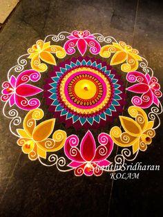 #mandala Rangoli Designs Latest, Simple Rangoli Designs Images, Rangoli Designs Flower, Rangoli Border Designs, Colorful Rangoli Designs, Rangoli Designs Diwali, Diwali Rangoli, Flower Rangoli, Beautiful Rangoli Designs