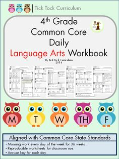 4th grade daily language arts workbook that features 180 activity-packed pages, aligned with CC ELA. Workbook can be used as homework, morning work, and/or a literacy center station.  $$