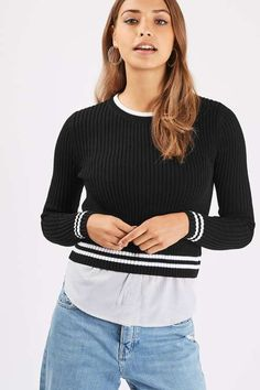 A workwear wardrobe essential, this long sleeve stripe rib jumper mixes two looks in one thanks to the shirt hem detail. Wear with ripped jeans and ankle boots to add a dose of cool to the outfit. #Topshop