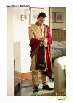 Indian Groom Wear - Gold Sherwani | WedMeGood  Golden Brocade Sherwani with Crimson Red Dupatta. View More at wedmegood.com  #wedmegood #sherwani