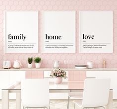 Definitions Printable Art Set: Family, Home, Love, Set of 3 Wall Art, Inspirational Art, Dining Room Prints, Family Gift *INSTANT DOWNLOAD* Printing Websites, Online Printing, Printable Art, Printables, Office Printers, Bedroom Prints, Family Gifts, Quote Prints, All Design