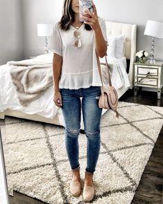 White & blush casual outfit | Cute espadrilles
