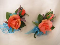 Coral Orange PROM CORSAGE and BOUTONNIERE. Real by FantasyWedding, $24.99