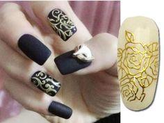 Relipop 108 One Sheet Golden 3d Flower Nail Art Stickers Decals Glitters Decorations Tips