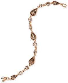 Givenchy Gold-Tone Geometric Champagne Crystal Tennis Bracelet - Jewelry & Watches - Macy's