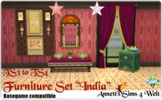 """Annett's Sims 4 Welt: TS3 to TS4 Conversion - Furniture Set """"India"""""""