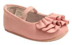 The ruffles on this pink mary jane will sweeten up any baby girl's outfit. Irresistible buttery soft leather. Note: Sizes 0-5 (Infant) Please note size chart refers to in-sole length (inside shoe). Si
