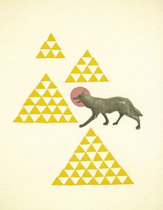 Geometric Art Abstract landscape Animal Art Nursery by VioletMay, $28.00