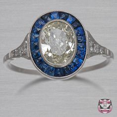 Sapphire Oval Halo Victorian Diamond Engagement Ring