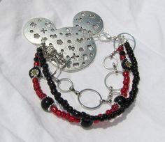 Unique Mickey Bracelet  3strands glass by BellesUniqueBoutique, $11.99