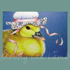 Spring Duck In A Bonnet By Melody Lea Lamb Print by MelodyLeaLamb (Art & Collectibles, Prints, Giclee, giclee, signed print, cute art, colorful art, small art, melody lea lamb, duck in bonnet, fantasy art, duckling, yellow, spring, baby animals, duck)