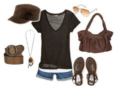 """Brown"" by mamie2shoes ❤ liked on Polyvore featuring Hydraulic, Wet Seal, Forever 21, Talula, Calypso St. Barth, Atlantis Caps, MNG by Mango, Ralph Lauren Collection, denim shorts and hat"