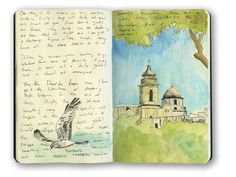 This is a sketch of a church in Erice, Sicily, Italy from my moleskine sketchbook. I used both watercolor and gouache on this page.