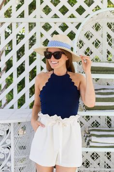 scalloped halter top + white paperbag shorts so cute!
