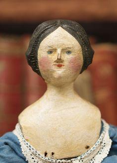 "14"" (36 cm.)   Antique Rare german Grodnertal Wooden Doll"