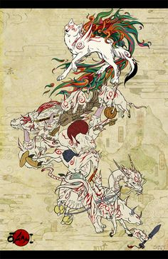 Okami Celestial Parade Art Print by High Wire Cats - X-Small Tatou Animal, Amaterasu, Video Game Art, Video Games, Manga Games, Mythical Creatures, Japanese Art, Wolf, Illustration