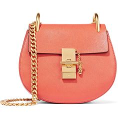 Chloé Drew mini textured-leather shoulder bag ($1,750) ❤ liked on Polyvore featuring bags, handbags, shoulder bags, tomato red, red purse, mini purse, cross-body handbag, crossbody purses and mini crossbody