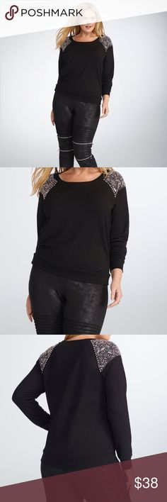 """Rebel Wilson for Torrid Embellished Sweater Silver, hand-beaded embellishments add serious glam to this black French Terry sweater. The fit is relaxed yet flattering thanks to its ribbed trim. Designed exclusively for Torrid by Rebel Wilson. Torrid Size 1 measures 27 3/4"""" from shoulder Pair this with our JLo Snakeskin print leggings for a night out look Polyester/rayon/spandex EUC torrid Tops Sweatshirts & Hoodies"""