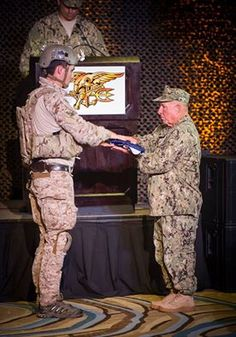 #SPECWARUSNavySEALTeams  ......  Special Warfare Operator Master Chief Kirby Horrell is presented a folded flag during the reading of 'Old Glory' at his retirement ceremony. Horrell retired from the U.S. Navy after more than 42 years of service and was the last Navy SEAL on active duty to have served in combat operations during the Vietnam War.