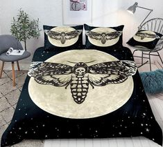 Skull Moth Printed Moon Bedding Set Butterfly Bedding Set, Pink Butterfly, Comforter Cover, Duvet Cover Sets, Skull Moth, Cotton Duvet, Gifts For Teens, Clean Design, Bed Design