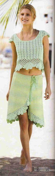 Patrón #58: Blusa y Falda a Crochet y Dos Agujas | CTejidas [Crochet y Dos Agujas]