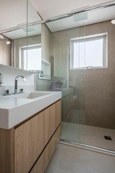 Banheiro clean moderno vidro porcelanato espelhos