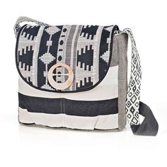 Sage & Harper Aztec & Stripe Crossbody Messenger Bag (Black) (105 CAD) ❤ liked on Polyvore