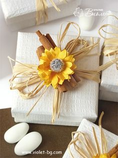 sunflower inspired #bomboniere | sunflower #wedding #favor | wedding bomboniere from www.violet-bg.com