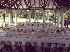 decoración exterior, yute, mantel, flores, guirnaldas, vintage, rustico